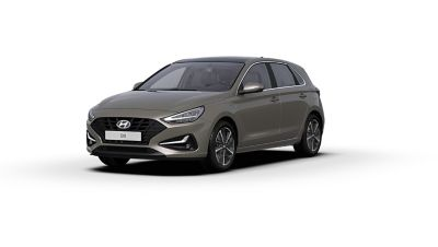 Front side view of the new Hyundai i30 in the colour Silky Bronze.