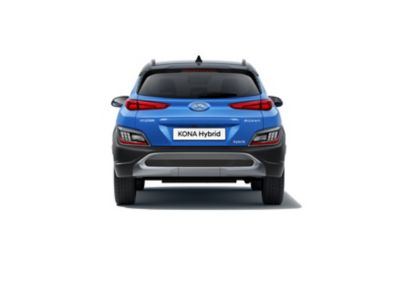 Rear view of the new Hyundai Kona Hybrid compact SUV with its new rear bumper robust new skid plate.