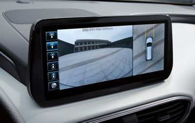 The surround view monitor in the new Santa Fe 7 seat SUV.